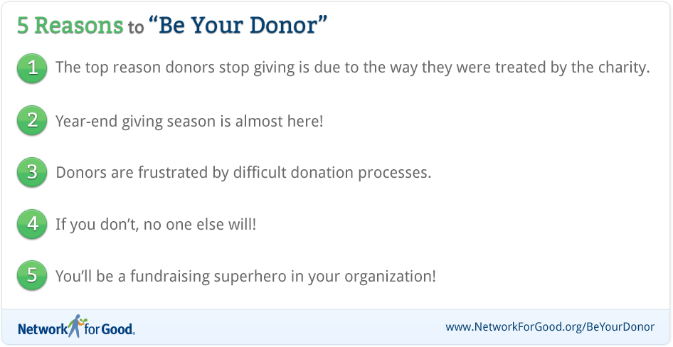 5 Reasons to Be Your Donor  1) The top reason donor stop giving is due to the way they were treated by the charity  2)Year-end giving season is almost here!  3) Donors are frustrated by difficult donation processes.  4) If you don't, no one else will!  5) You'll be a fundraising superhero in your organization!